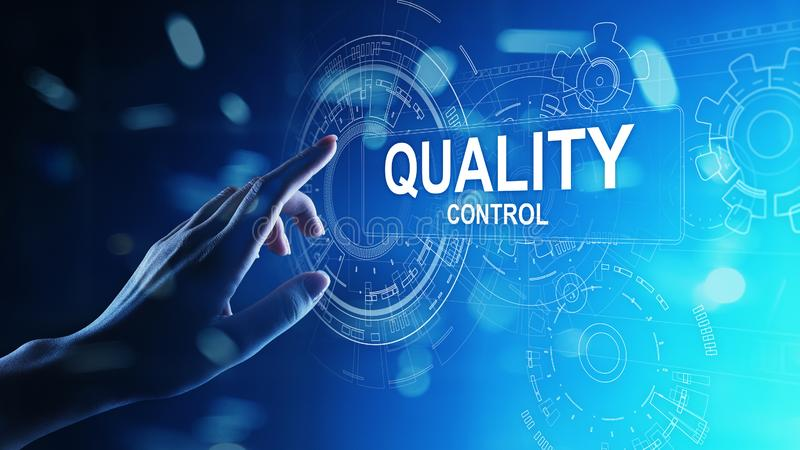 Quality control, assurance, industry standards concept on virtual screen. royalty free stock images