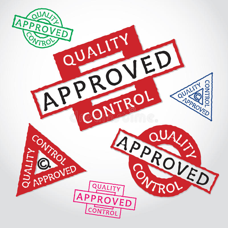 Quality control. Collection of quality control approved on white background. Vector illustration vector illustration