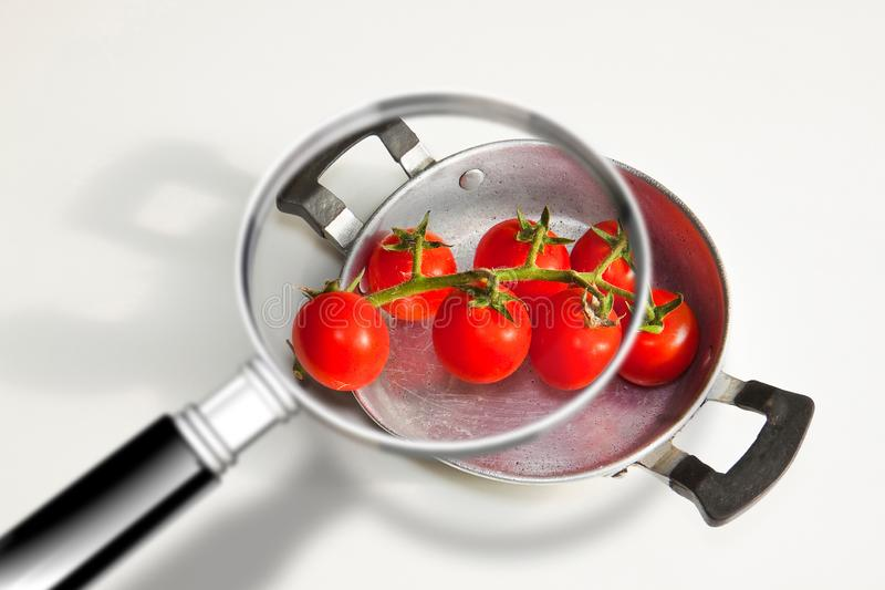 Quality control HACCP food safety Hazard Analyses and Critical Control Points - concept image with bunch of cherry tomatoes seen stock photo