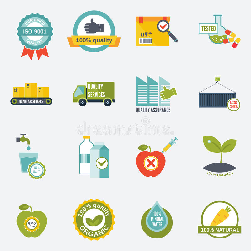 Quality control icons flat. Quality control certified quality test services icons flat set isolated vector illustration stock illustration