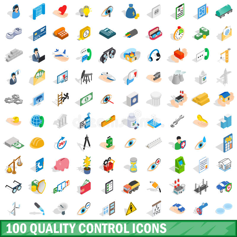 100 quality control icons set, isometric 3d style. 100 quality control icons set in isometric 3d style for any design vector illustration stock illustration