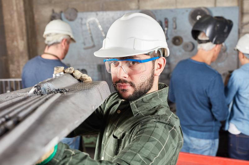 Quality control in metallurgy factory royalty free stock image