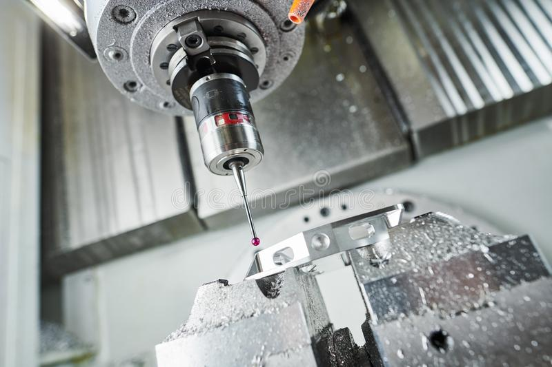 Quality control on milling CNC machine. Precision probe sensor at industrial metalworking. Quality control on milling CNC machine. Precision probe sensor measure stock images