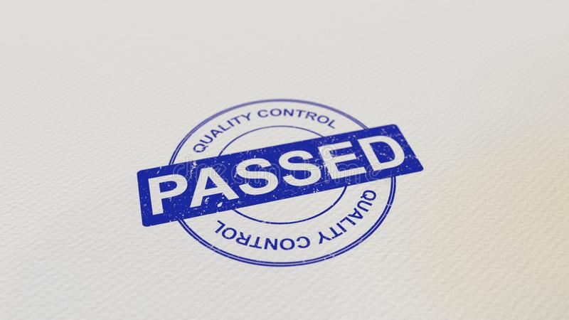 QUALITY CONTROL PASSED stamp 3D rendering. QUALITY CONTROL PASSED stamp 3D royalty free illustration