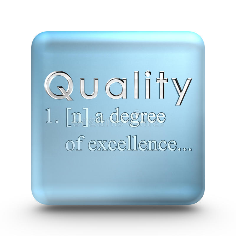 Quality definition icon. Quality definition engraved into a blue ice cube royalty free illustration