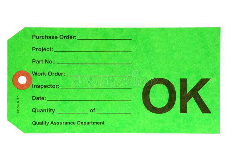 Quality Department. This OK tag is used by the Quality Control Department during product manufacture royalty free stock photography