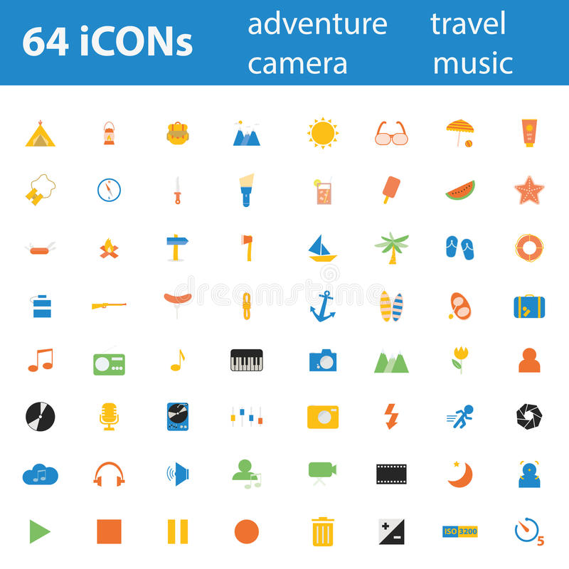 Download 64 Quality Design Modern  Illustration Icons Set. Stock Illustration - Image: 41436029