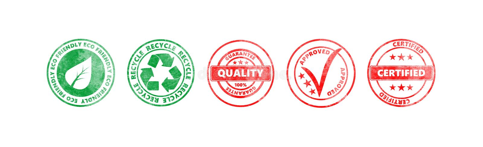 Red and green round stamps with text isolated on white background, banner royalty free illustration