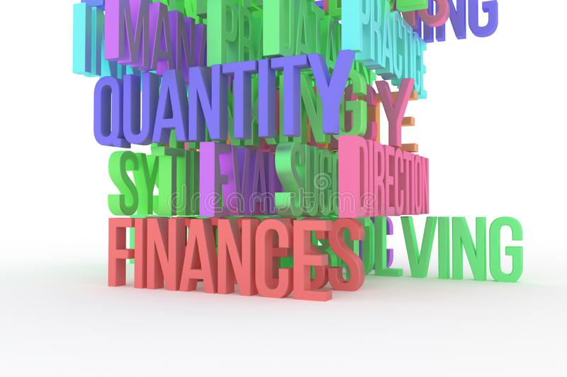 Quality, Finance, Efficiency, business conceptual colorful 3D rendered words. Message, text, design & digital. Quality, Finance, Efficiency, business conceptual stock illustration