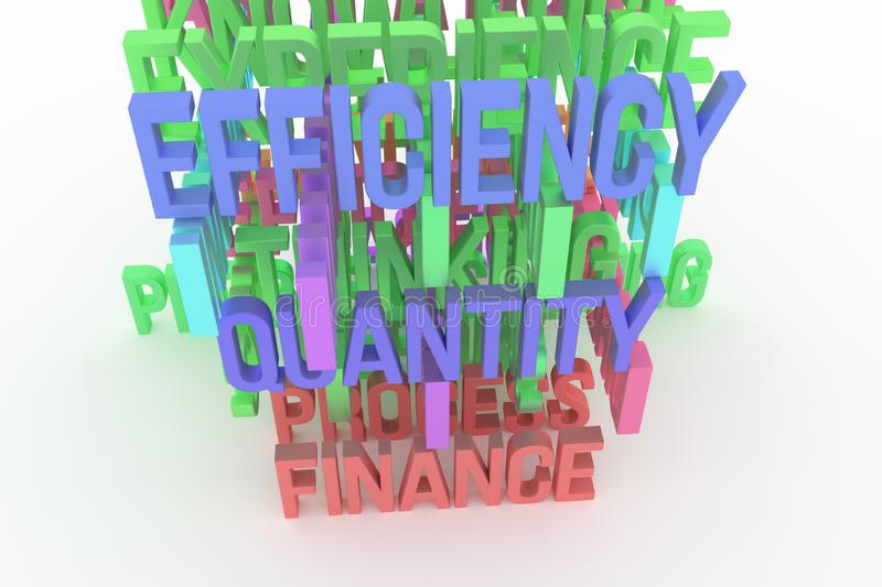 Quality, Finance, Efficiency, business conceptual colorful 3D rendered words. Rendering, background, positive & artwork. Quality, Finance, Efficiency, business royalty free illustration