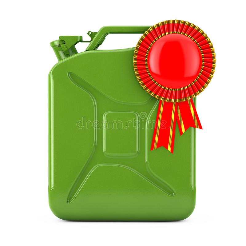 Quality Fuel Concept. Green Metal Fuel Jerrycan with Red Award Ribbon Rosette. 3d Rendering. Quality Fuel Concept. Green Metal Fuel Jerrycan with Red Award royalty free illustration