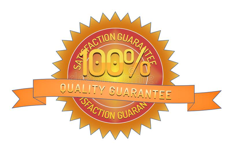 100% quality guarantee ribbon and badge. Style design element on white background royalty free illustration