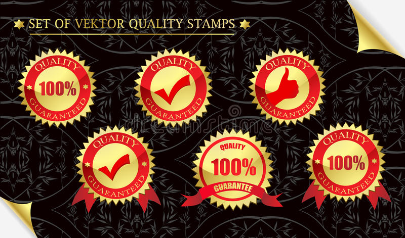 Quality guarantee. Set of beautiful vektor quality stamps stock image