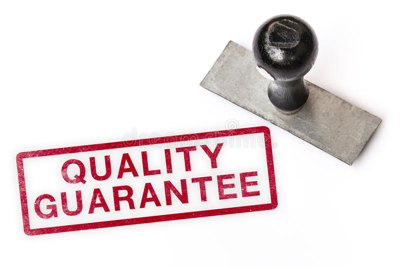 Quality guarantee text label stamp royalty free stock photo