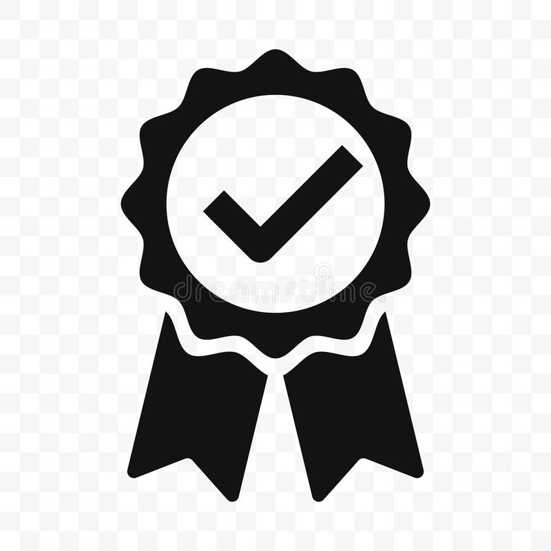 Quality icon certified check mark ribbon label. Vector premium product certified or best choice recommended award and warranty royalty free illustration