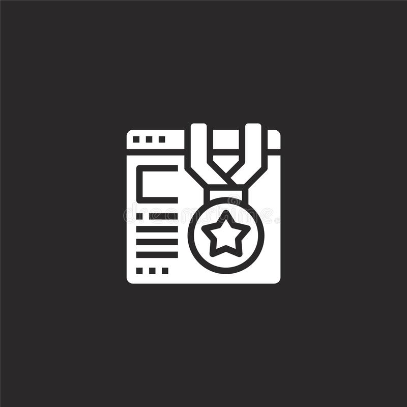 Quality icon. Filled quality icon for website design and mobile, app development. quality icon from filled seo collection isolated. On black background royalty free illustration
