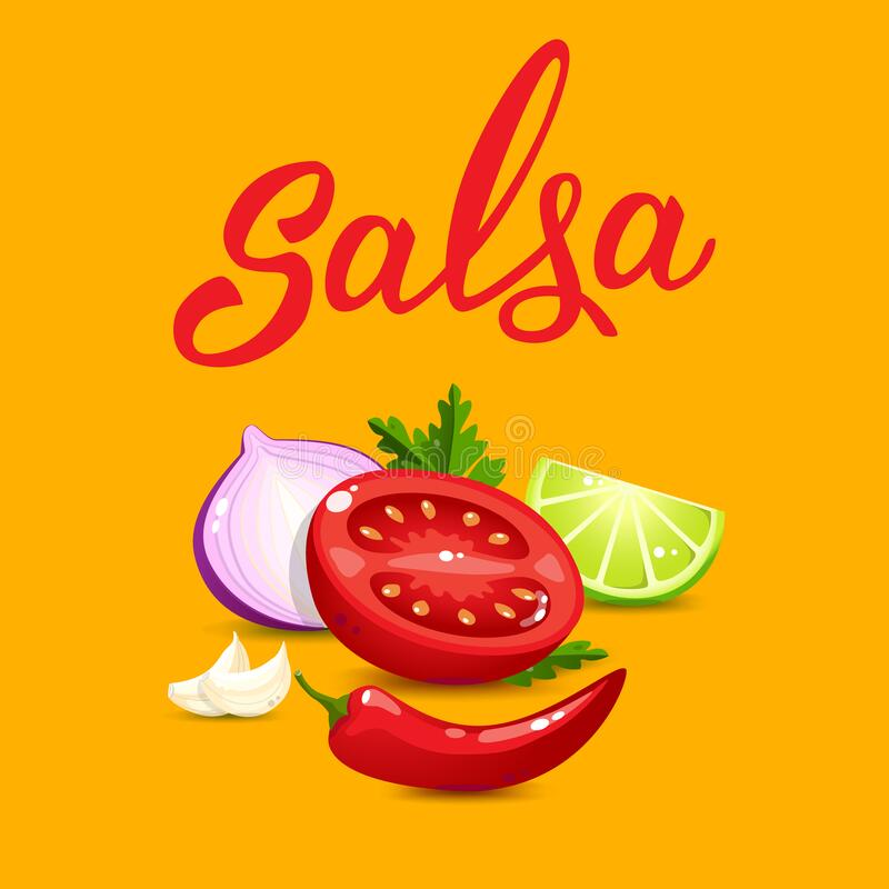 Quality Ingredients For Salsa Sauce Cartoon Style And