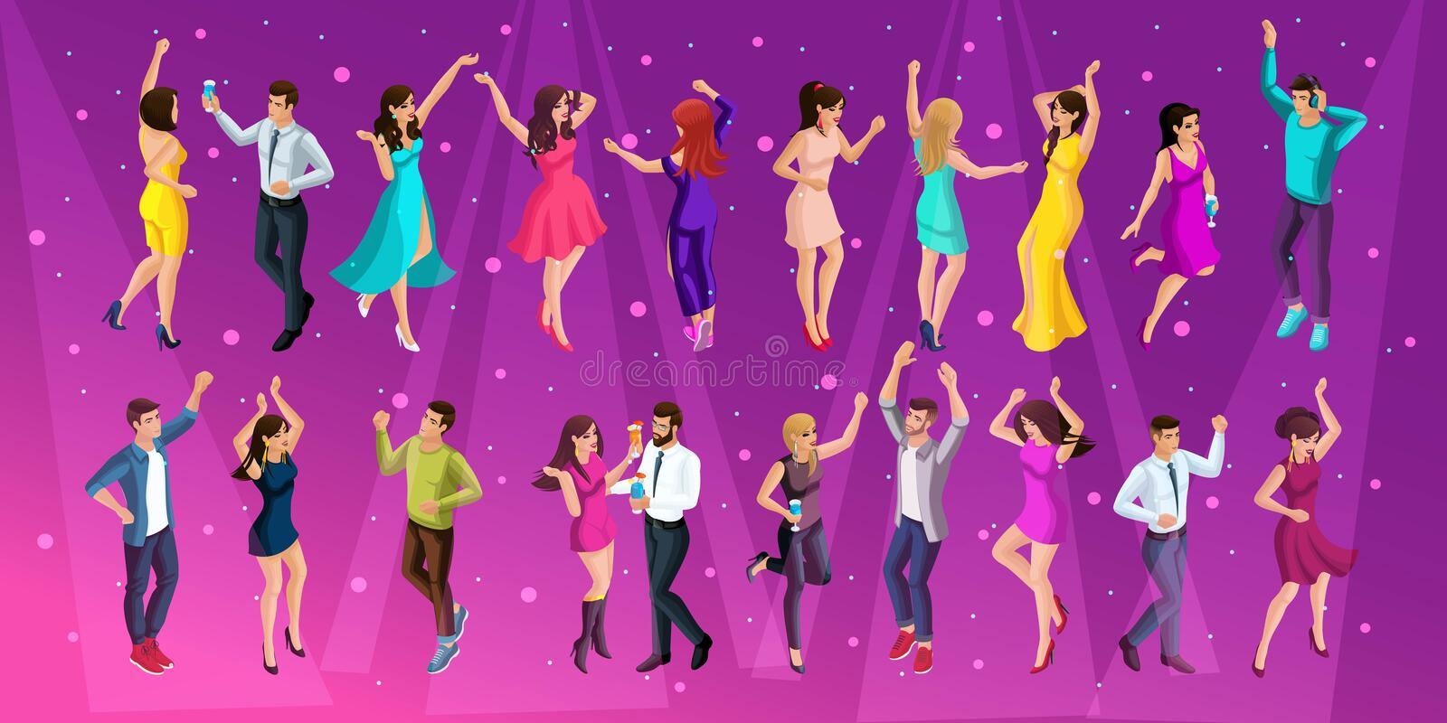 Quality Isometrics, a 3D girl of a man at a party, a corporate party, dancing in a club, young beautiful people dancing stock illustration