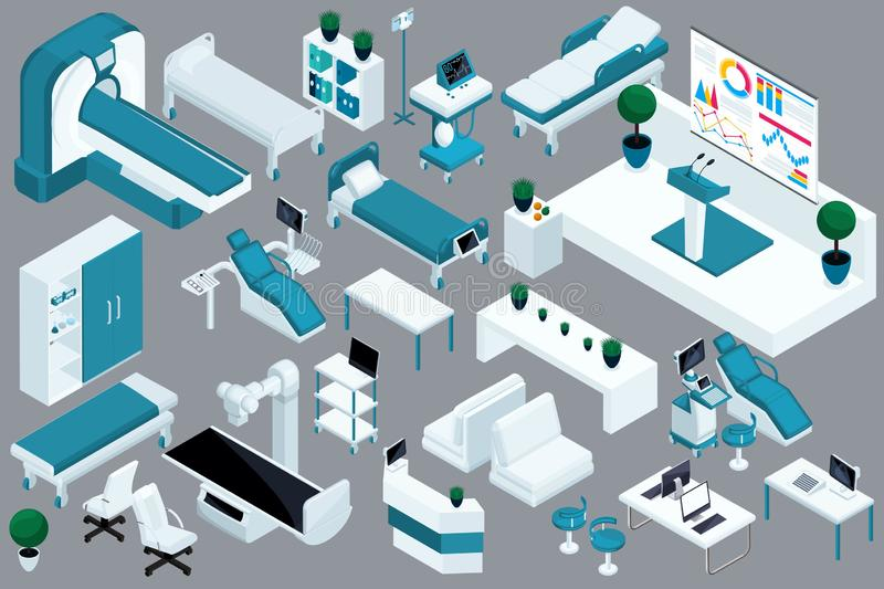 Quality Isometry, 3D medical devices, hospital bed, MRI, X-ray scanner, ultrasound scanner, dental chair, operating room.  royalty free illustration