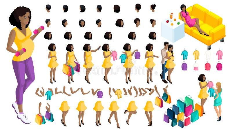 Quality Isometry pregnant African American girl. Set of babies and clothes, create your own character. Quality Isometry pregnant African American girl. Set of vector illustration
