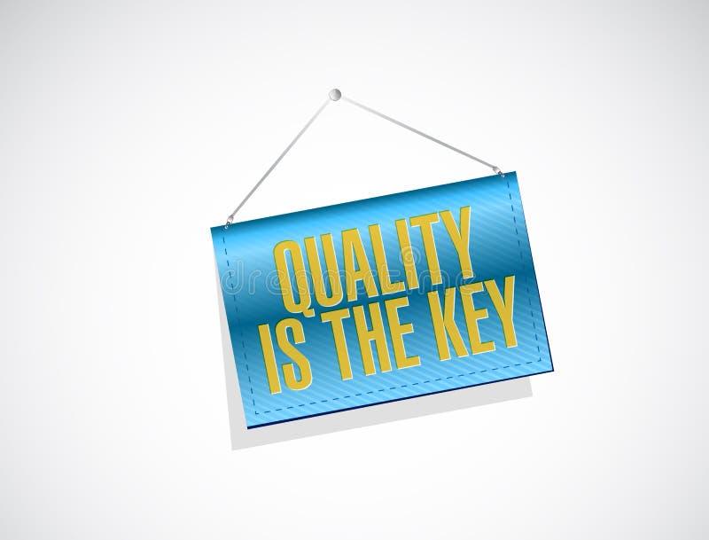 Quality is the key hanging banner sign concept. Illustration design over white stock illustration