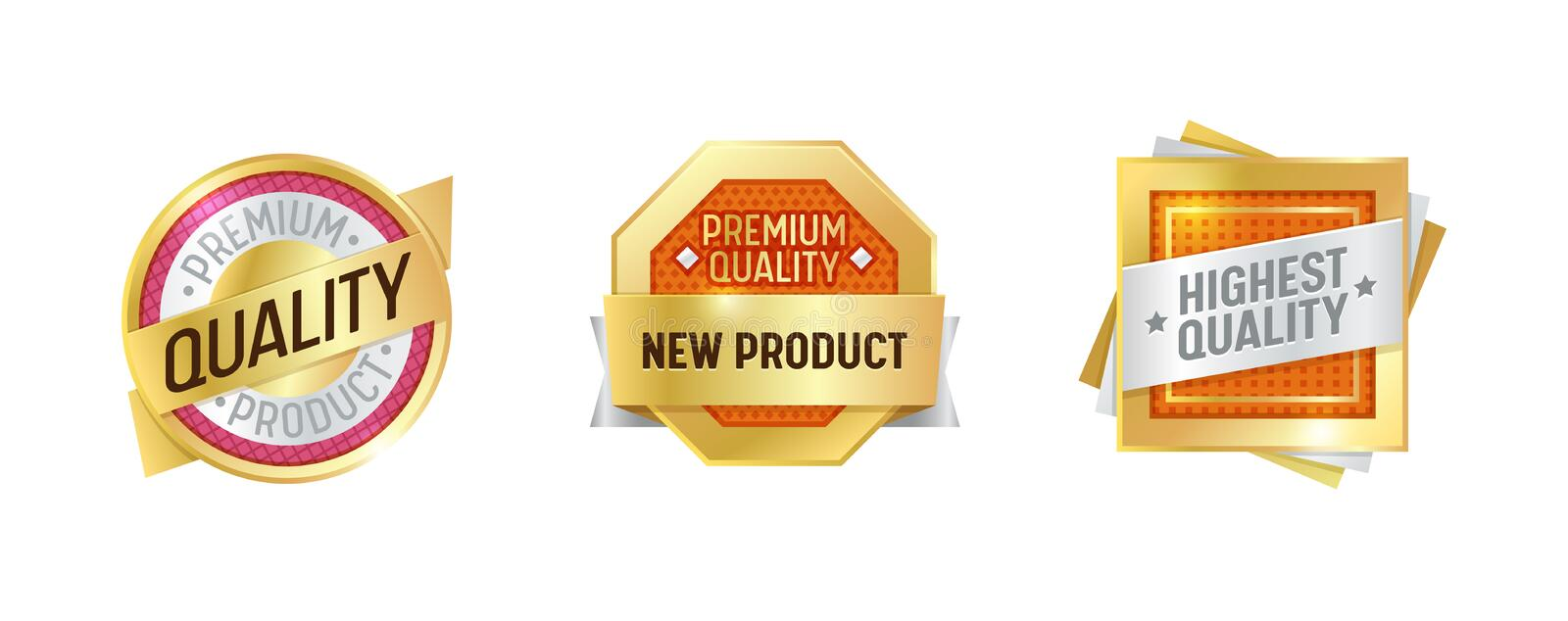 Quality Label Golden New Badge Set. Premium Product Glossy Mark Design. Award Sign Gold Round Element Collection royalty free illustration
