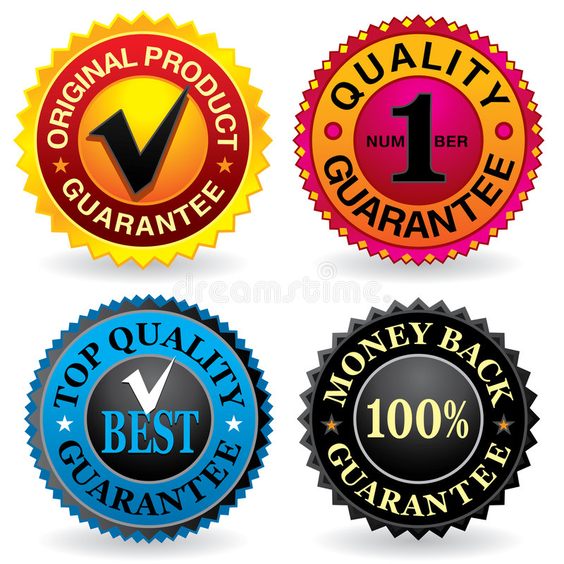 Quality labels stock photo