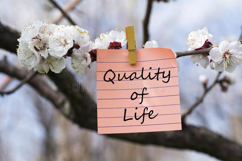 Quality of life in memo stock photo