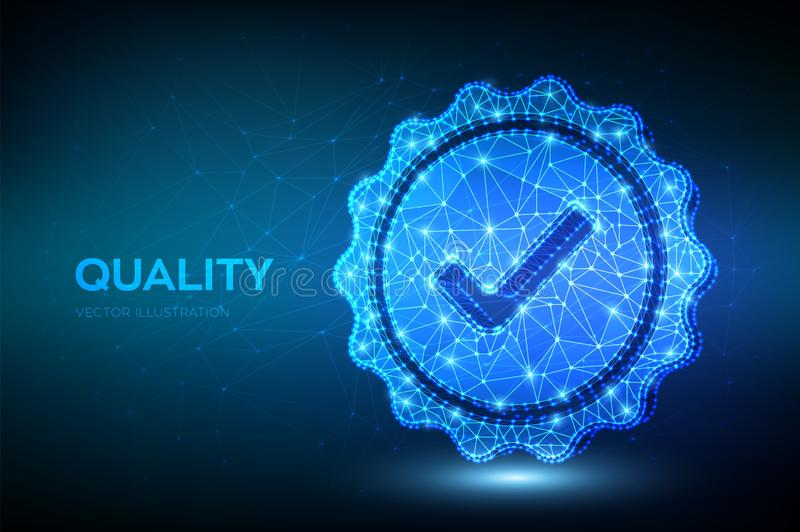 Quality. Low polygonal Quality icon check. Standard Quality Control Certification Assurance. Guarantee, premium choice, good royalty free illustration
