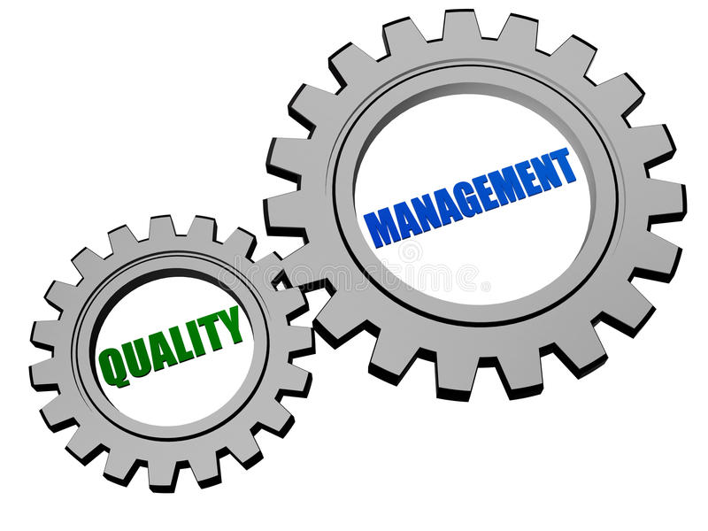 Quality management in silver grey gears royalty free illustration