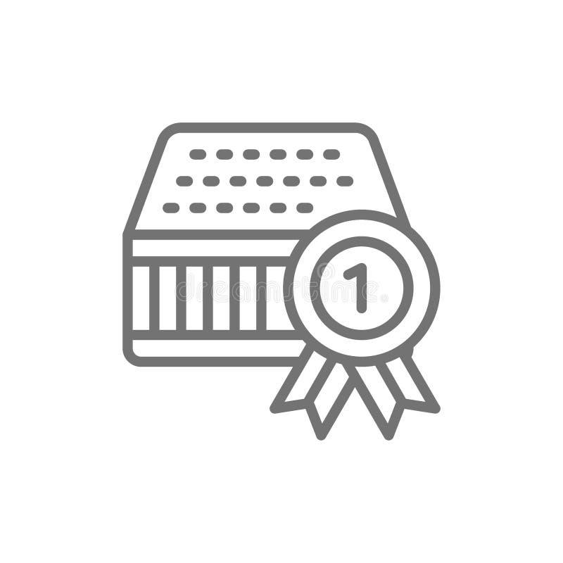 Quality mattress, guarantee, reward line icon. Isolated on white background stock illustration