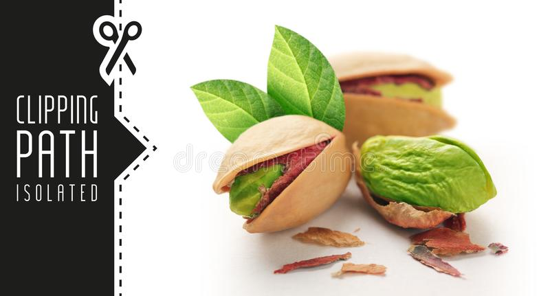Pistachios with clipping path royalty free stock photography