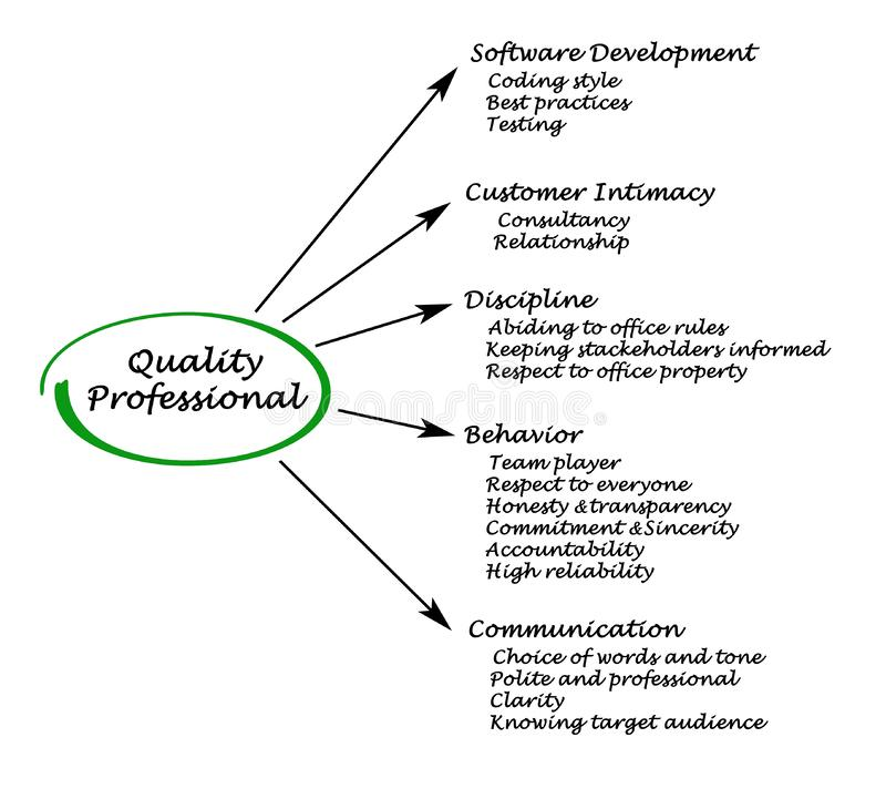 Quality Professional. Important characteristics of Quality Professional vector illustration