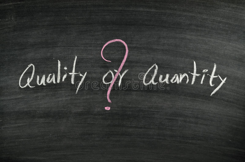 Quality or quantity royalty free stock images