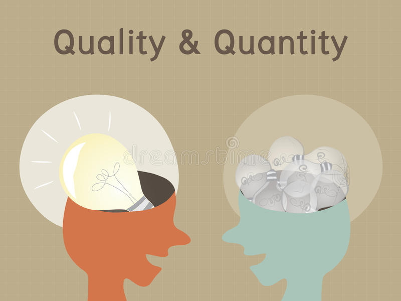 Quality and Quantity, Conceptual vector illustration