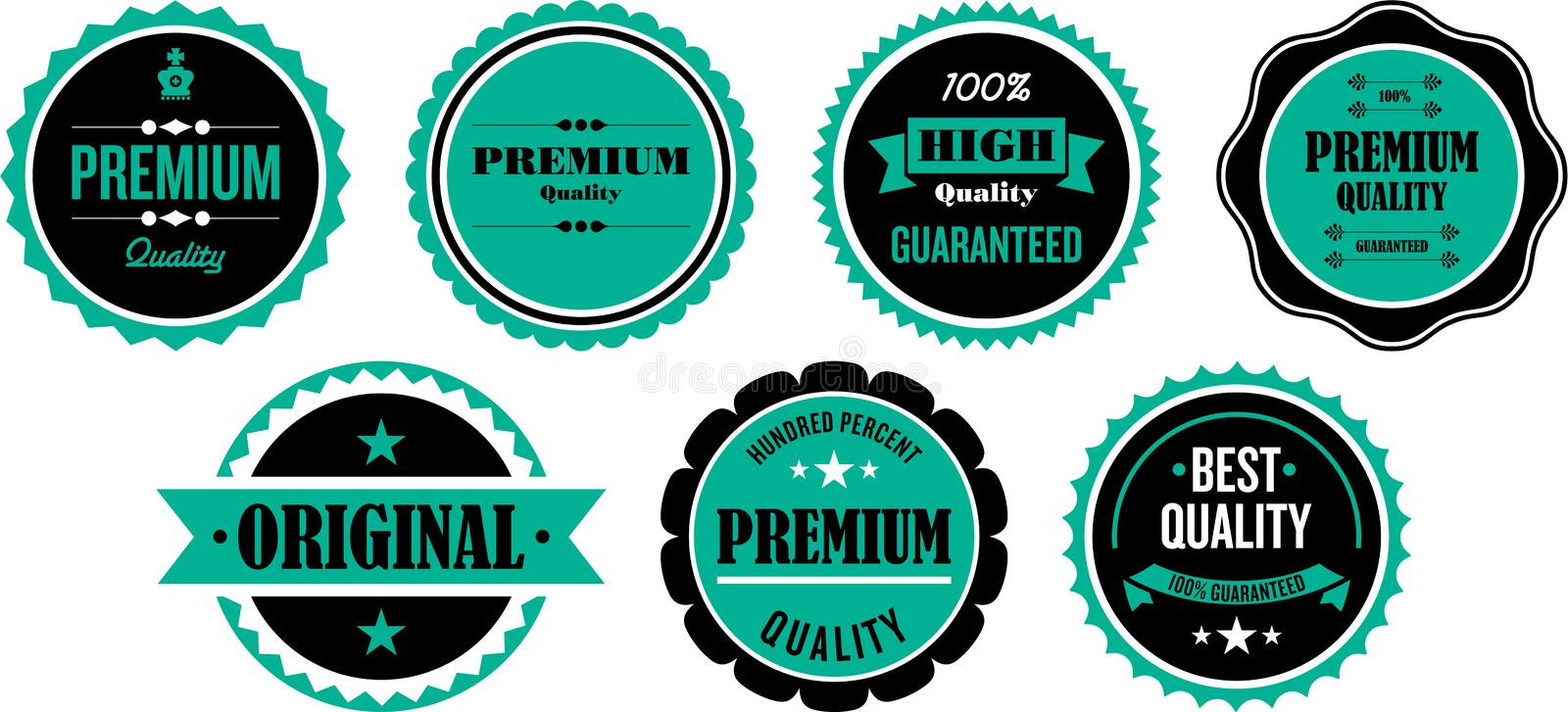 Quality Seals or Stickers. Premium quality seal, sticker and badge designs vector illustration
