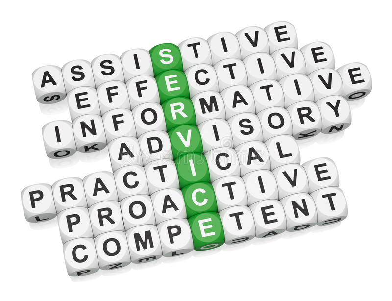 Quality service features. Crossword on white background 3d render vector illustration