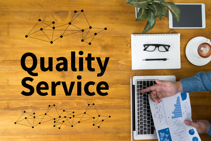 Quality Service,Quality - Service - Price. Concept businessman working stock photos