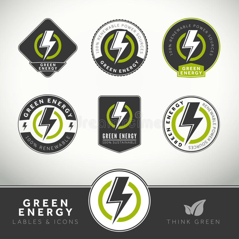 Download Quality Set Of Green Energy Labels And Badges Stock Vector - Illustration: 34216048