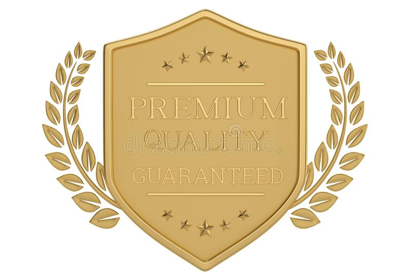 Quality shield medal isolated on white background. 3D illustration.  royalty free illustration