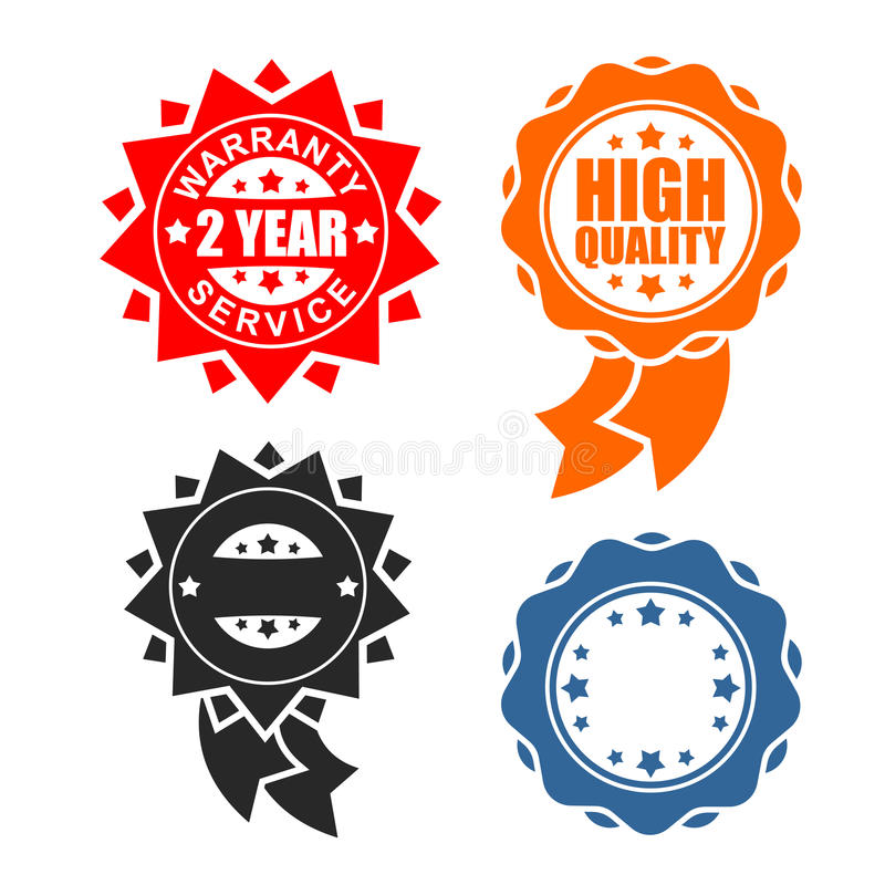 Quality sign icon template set. Warranty and service Ribbon symbol. Rubber Seal.  royalty free illustration