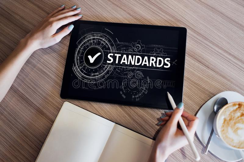 Quality Standard control check box on screen. Business and technology concept. royalty free stock photos
