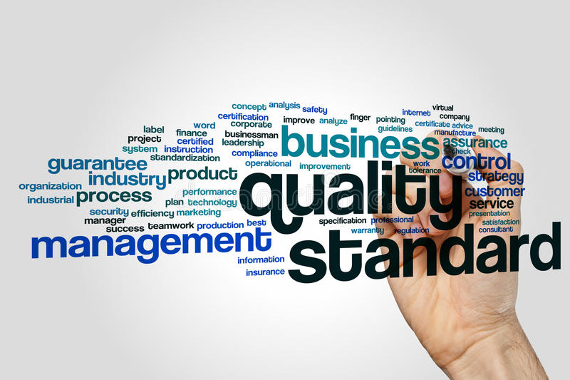 Quality standard word cloud royalty free stock photography