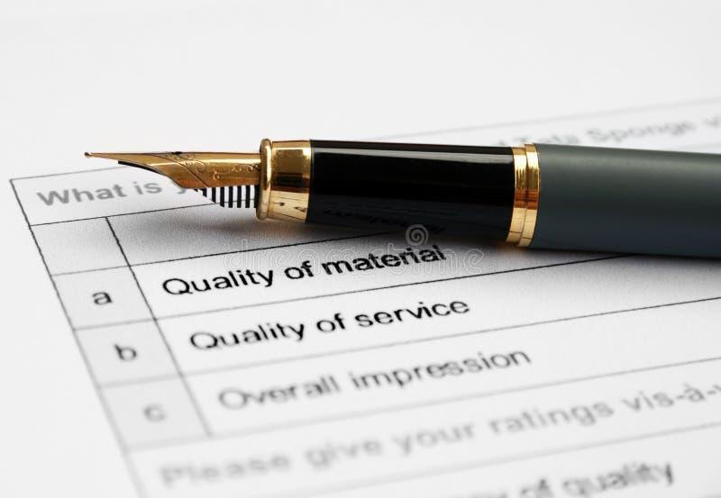 Quality survey form stock photo