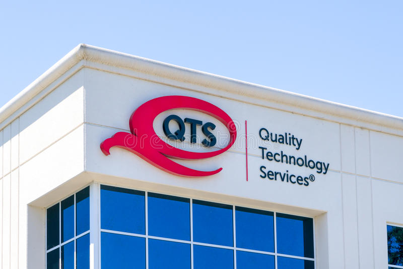 Quality Technology Services Exterior and Logo. SANTA CLARA, CA/USA - JULY 29, 2017: Quality Technology Services exterior and logo. QTS is a real estate royalty free stock photography