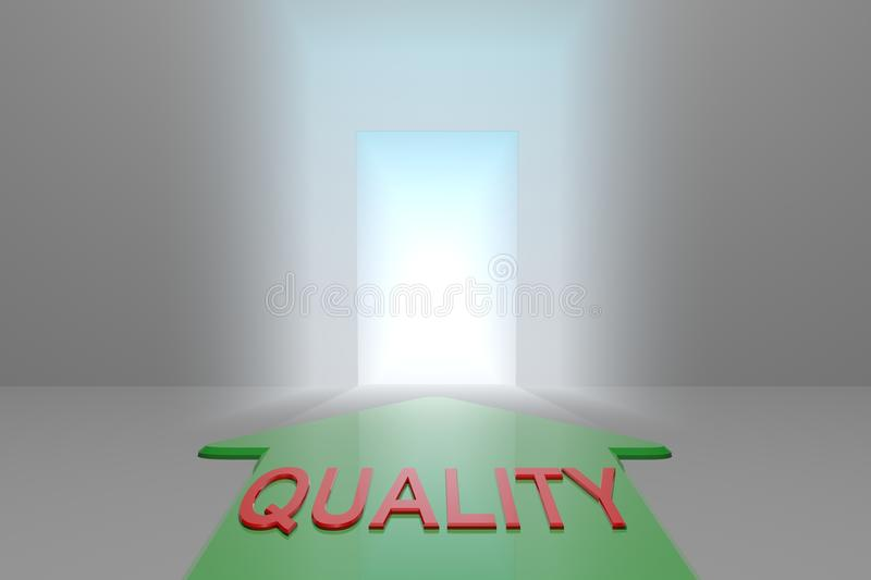 Quality to the open gate. Green arrow with quality word front of the open gate , 3d rendered royalty free illustration