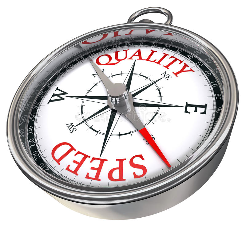Quality versus quantity compass royalty free illustration