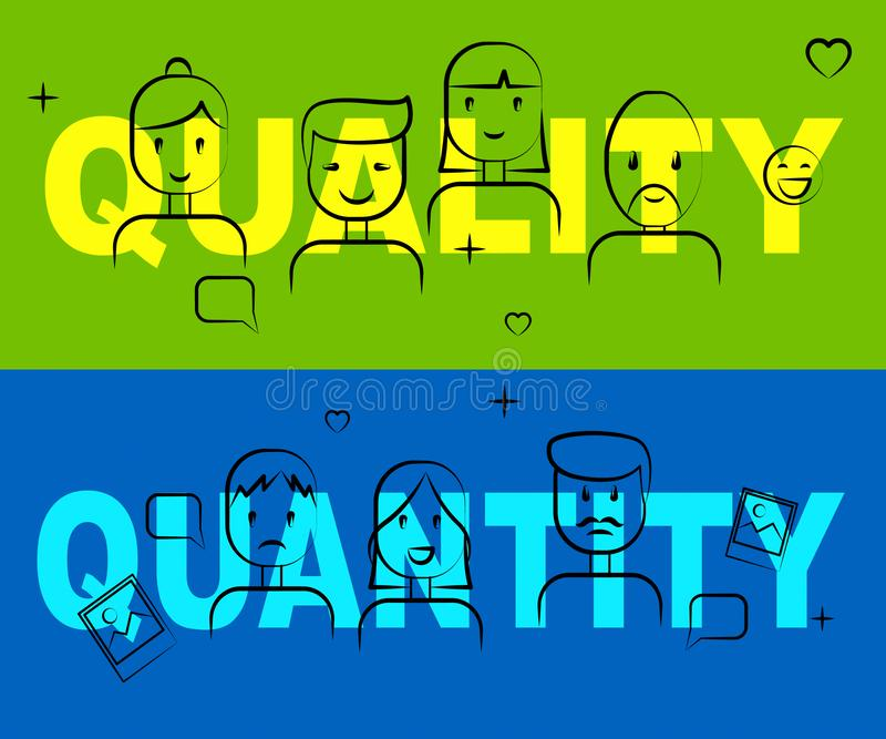 Quality Vs Quantity Words Depicting Balance Between Product Or Service Superiority Or Production - 3d Illustration stock illustration