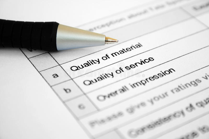 Qualitysurvey fotografie stock