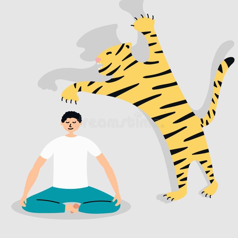 In qualsiasi situazione pericolosa, essere calmo Attacco della tigre yoga metafora illustrazione di stock